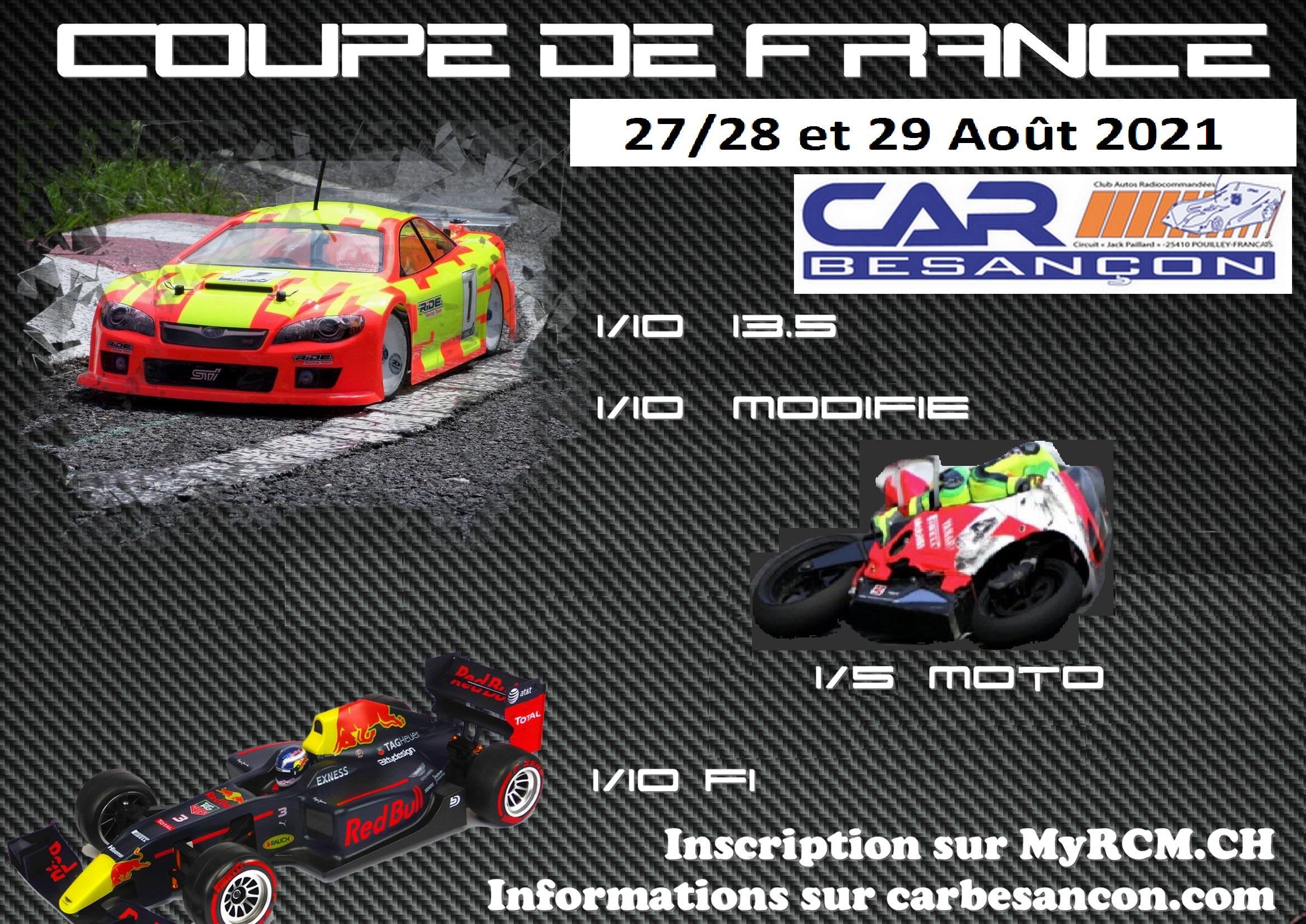 C. de Fr. 1/10 13.5 et mod., 1/10 F1 et 1/5 moto du 27/28 et 29 Août 2021